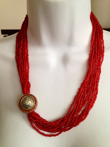 Red Glass Bead Necklace with Silver Pendant - Tunique Design