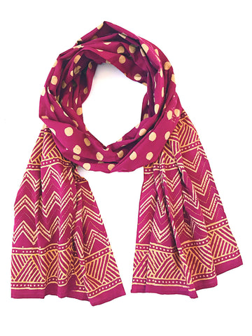 Magenta Polka Dot Embroidered Vegetable dyed scarf - Tunique Design