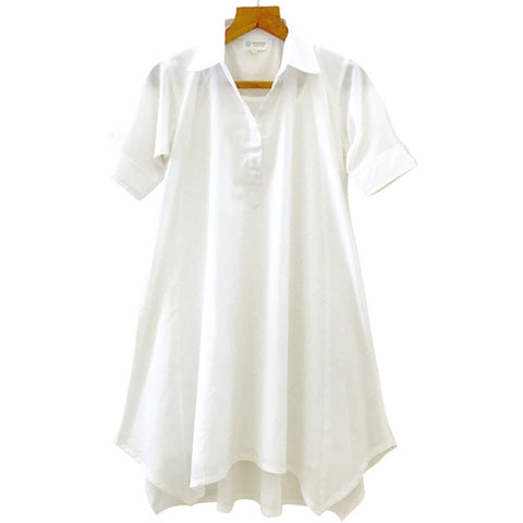 Short Sleeve White Mulmul Shirt Dress