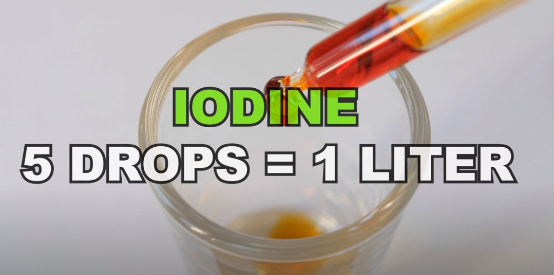 Iodine used to kill bacteria in water