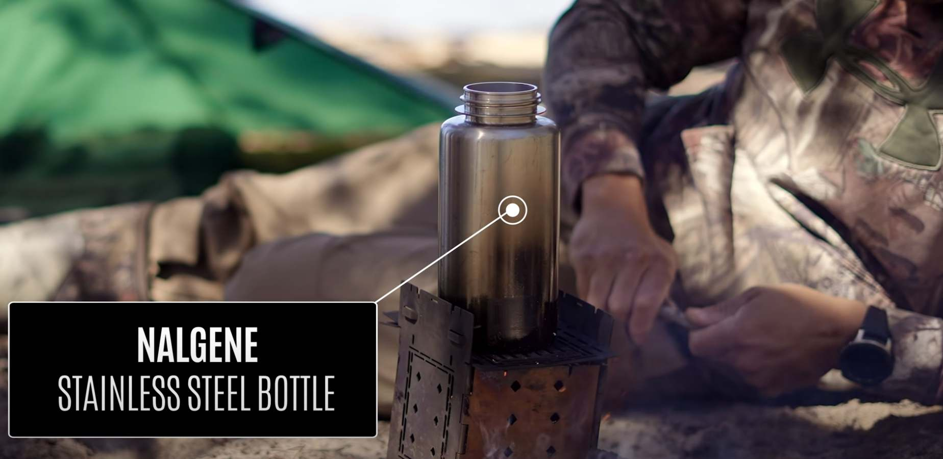 nalgene stainless steel water bottle boiling water on a firebox camp stove