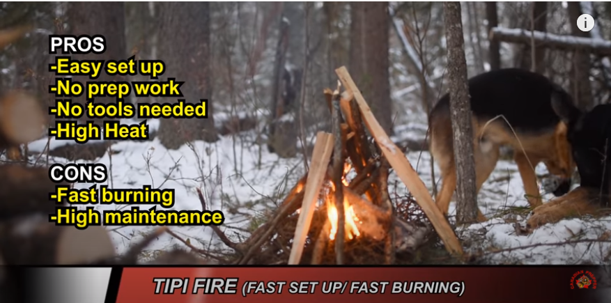 A large style Tipi Fire made by the Canadian Prepper in the winter surrounded by snow.