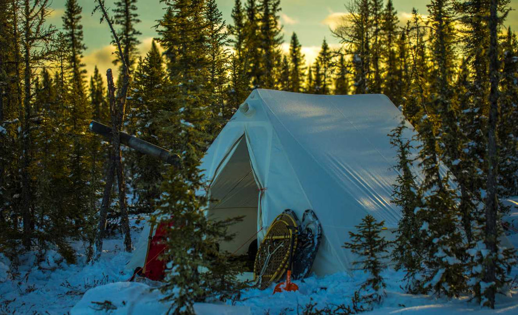 White Canvas Hot Tent with snow shoes rested up against it in a forest of tree's in the winter