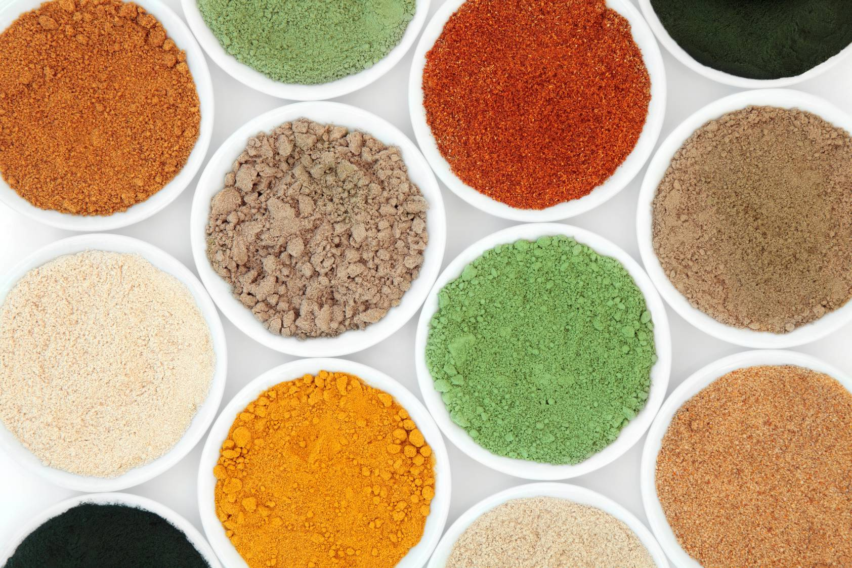 top down view of powdered foods