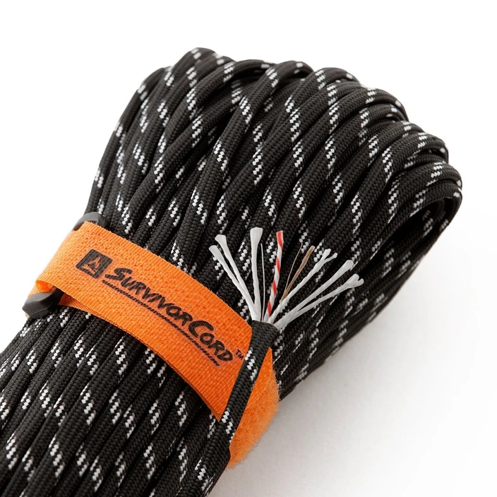 Survivor cord black - paracord and fire tinder in one