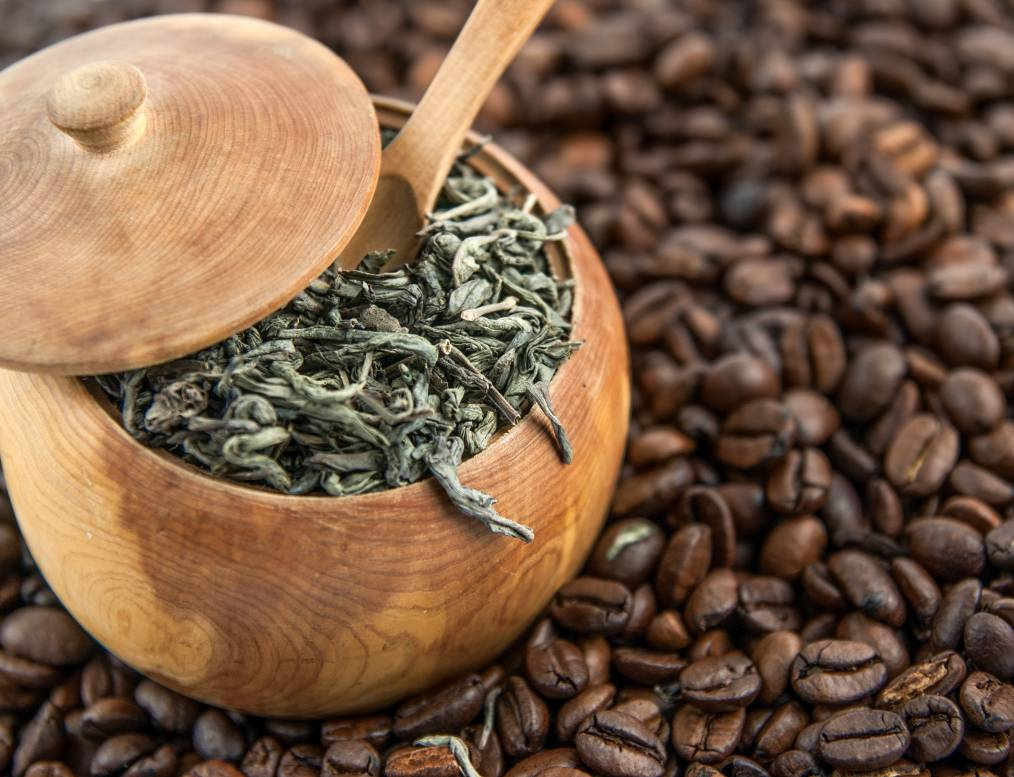 Tea leaves and coffee beans