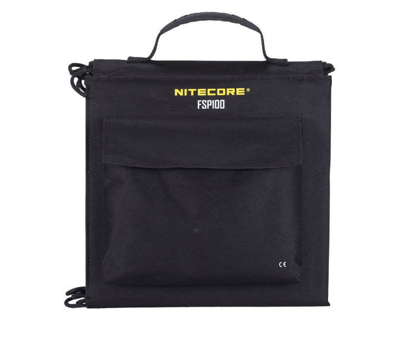 Nitecore PSP100 carrying case in black with yellow and white lettering. A front pouch is shown for the power cable and other supplies.