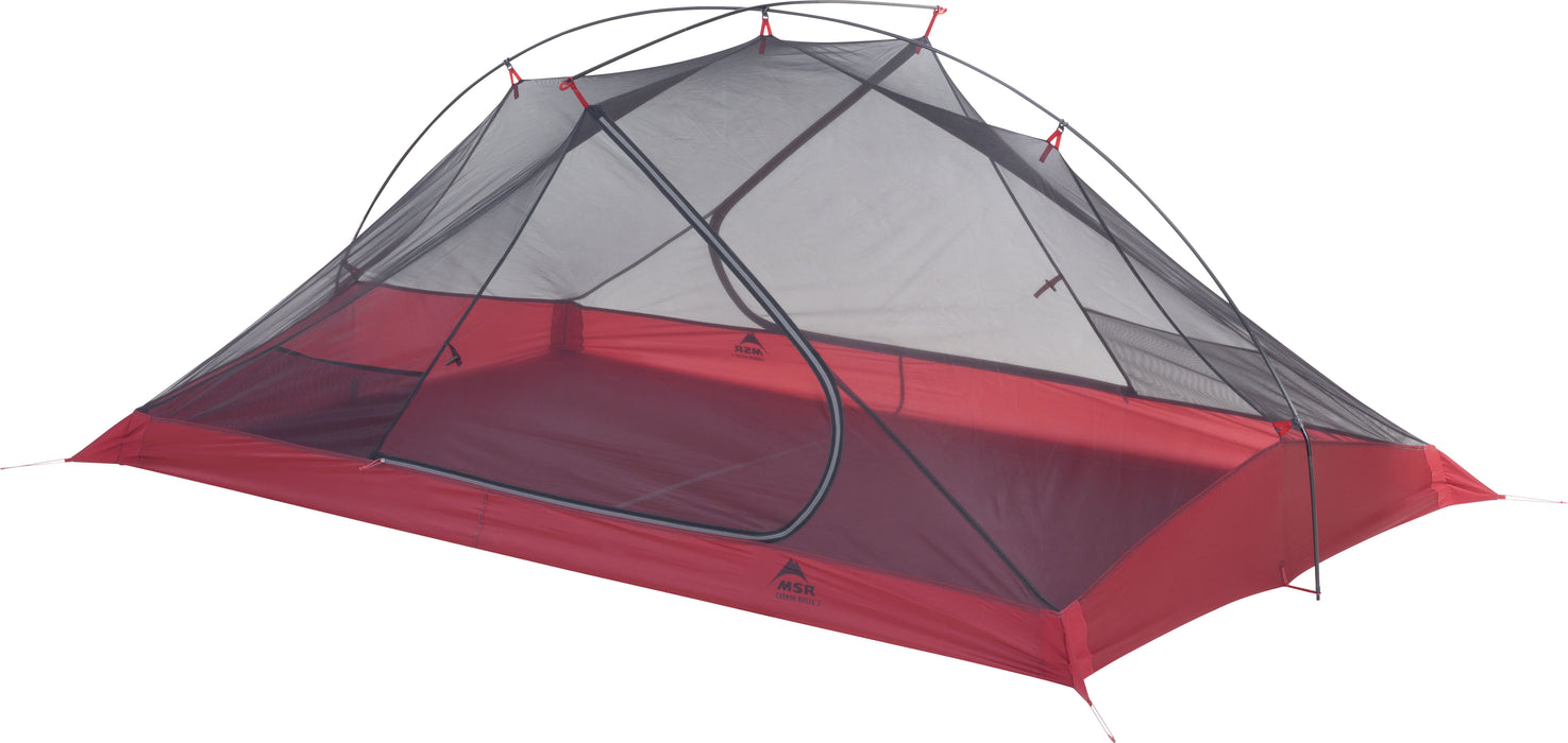 The bug meshing of the MSR Carbon Reflex 2 person tent. The bottom base of the tent is a deep red and the mesh is black.