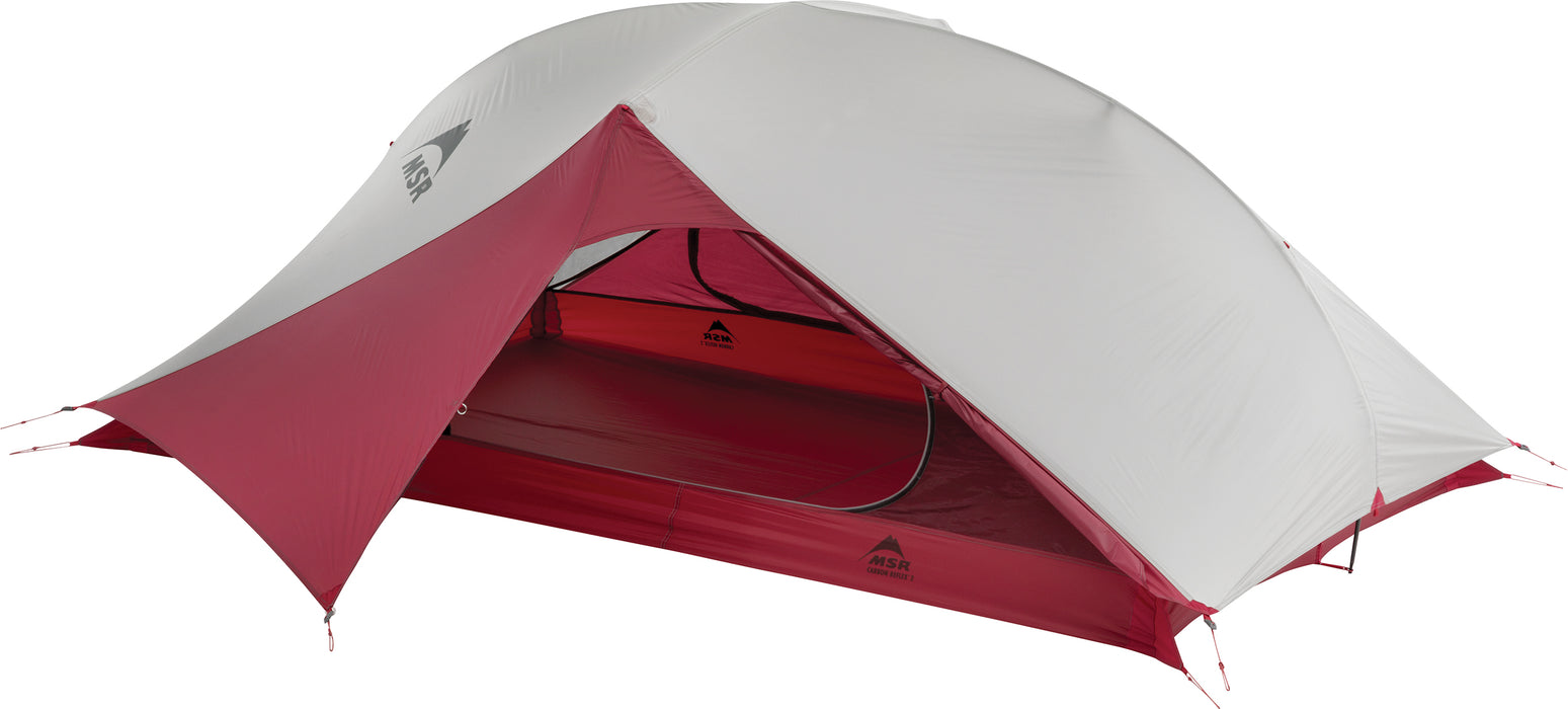 The opened entry way fo the MSR Carbon Reflex ultralight 2-person tent.