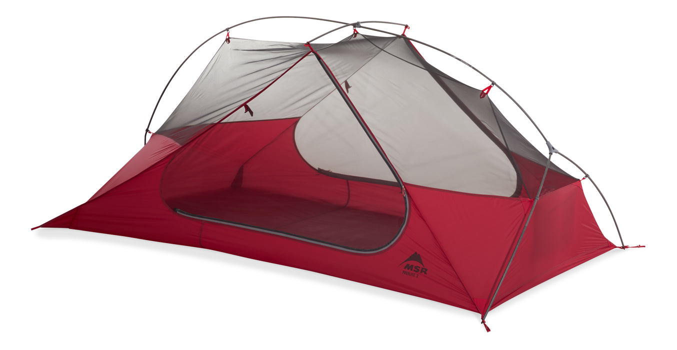 Freelight Ultralight Backpacking 2 person Tent. with a mesh roof and red coloured bottom.