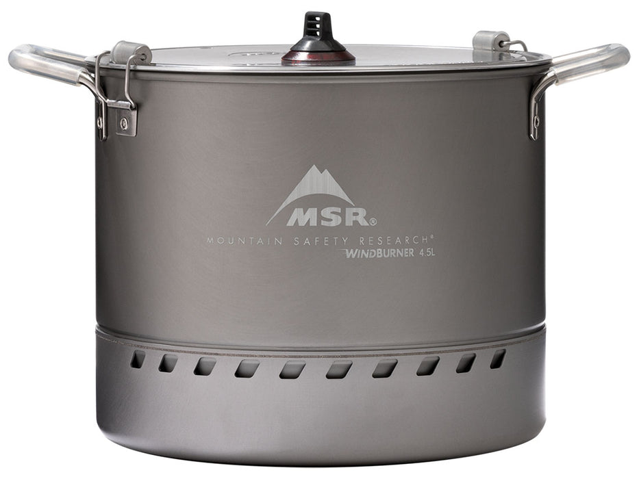Mountain Safety Research WindBurner Large Stock Pot with two handles on the left and right, a heat dissipation grill on the bottom and a 3 column grooved handle on the lid. The cooking pot is a flat grey colour.
