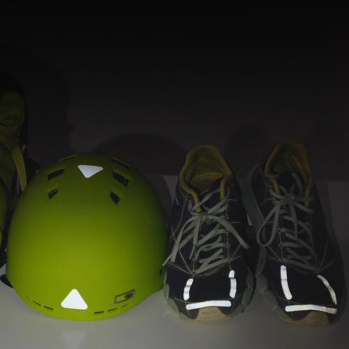 Gear Aid Tenacious reflective patches on shoes and a biking helemt, glowing-reflecting in the dark.