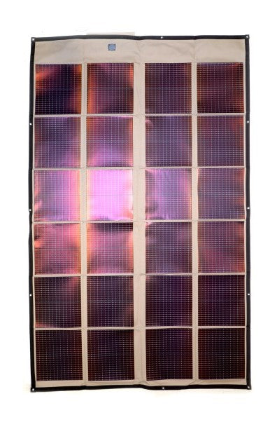 Powerfilm 120 watt foldable Solar panels laid out on a white background