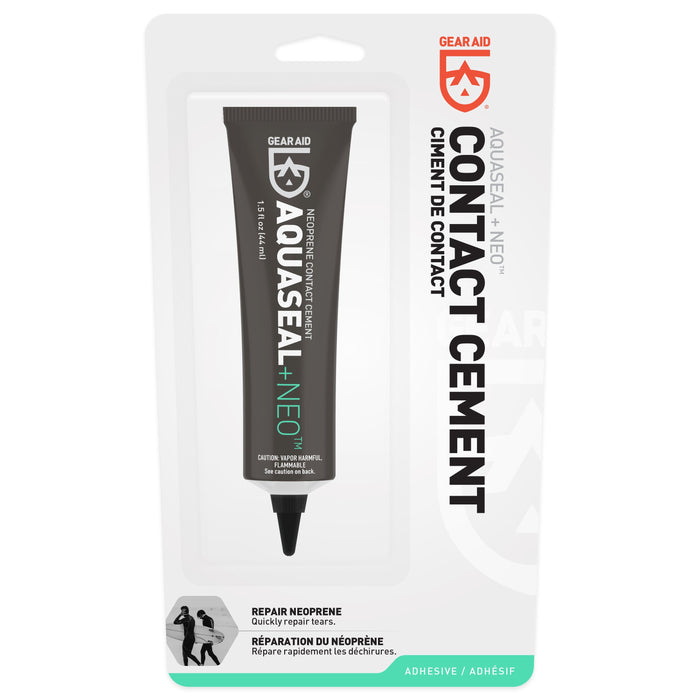 Gear Aid AquaSeal Contact Cement tube 'ciment de contact' with the description 'repair neoprene'