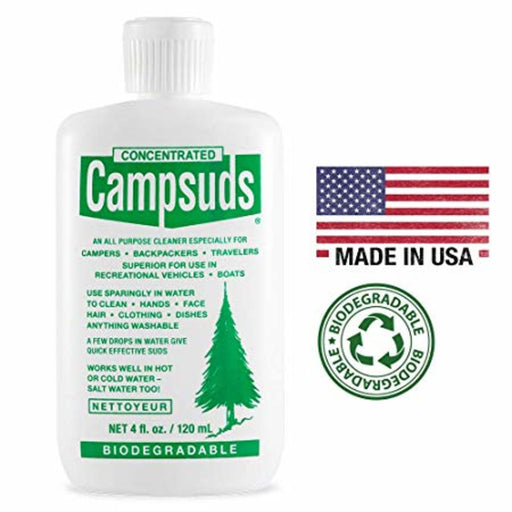 Sierra Dawn Concentrated Campsuds bottle with logos: 'Made in USA' with united states flag and the 'Biodegradable' Stamp of approval. The campsuds bottle has the description:  'All purpose cleaner especially for campers - Backpackers - travelers - superior for use in recreational vehicles - boats'.