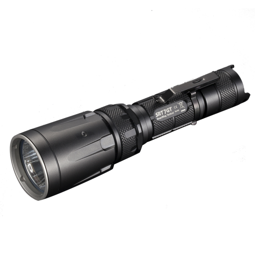 Nitecore SRT 7GT Multicolored Tactical Flashlight in black with a belt clip on the body.