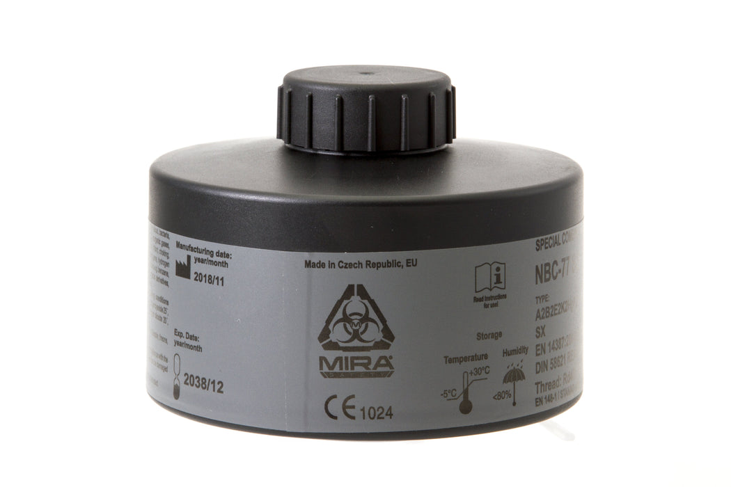 Mira Safety NBC-77 Filter used for Chemical, Biological, Radiological, and Nuclear (CBRN) filtration..