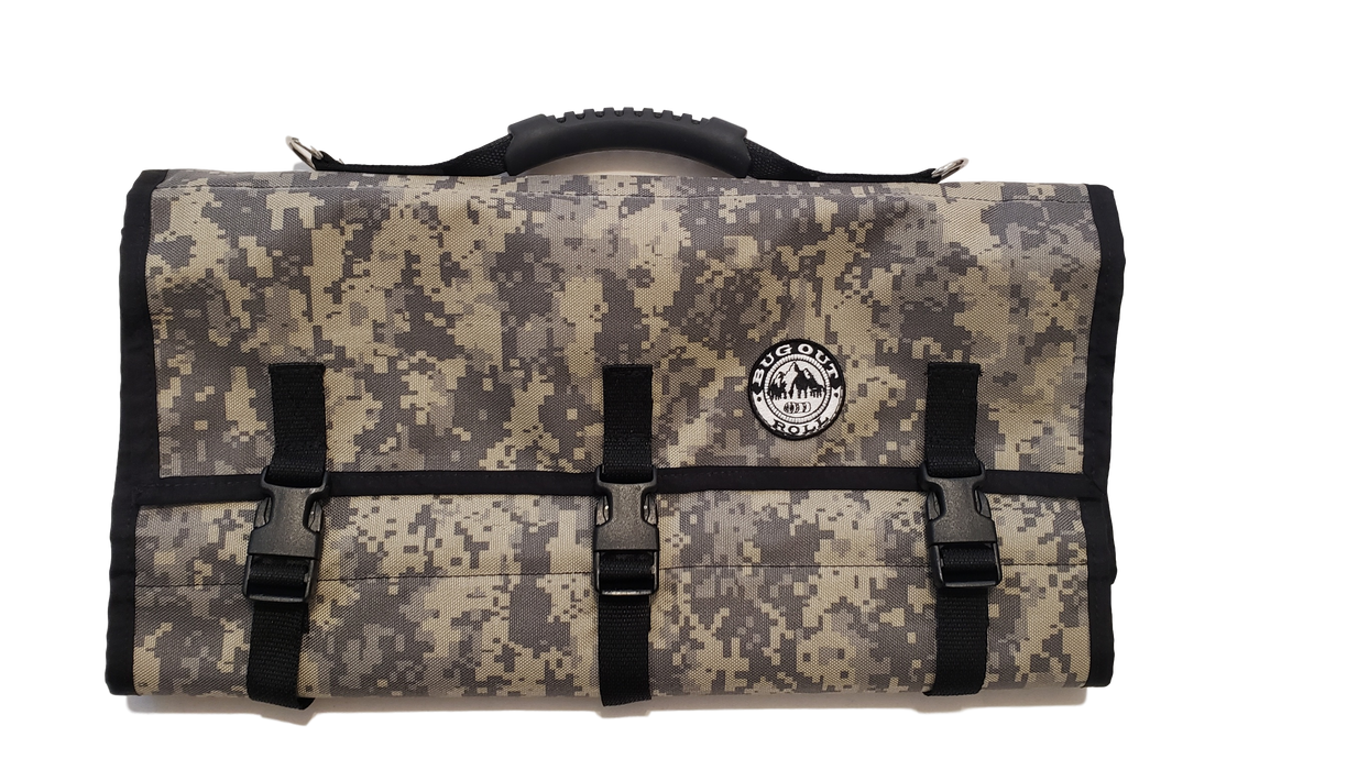 Front view of the Bug Out Roll Lite in Desert Camo with an 8 bit style print. The pack has 3 buckles clipped together, a handle on the top of the bag with a black rubber finish and the BUG OUT ROLL emblem is stitched to the front right of the bag.