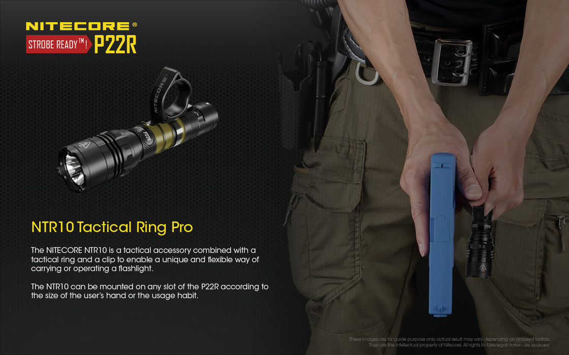 A person holding a glock pistol and a Nitecore p22r tactical flashlight using the NTR10 tactical ring pro loop to hold the flashlight with the pistol.