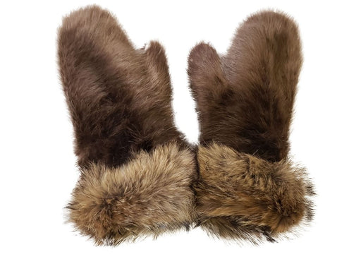 Top of the Women's Blonde Beaver Fur Mitts, with raised cuffs.