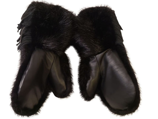Inside view of two Black Beaver Fur Mitts with a sheepskin liner.