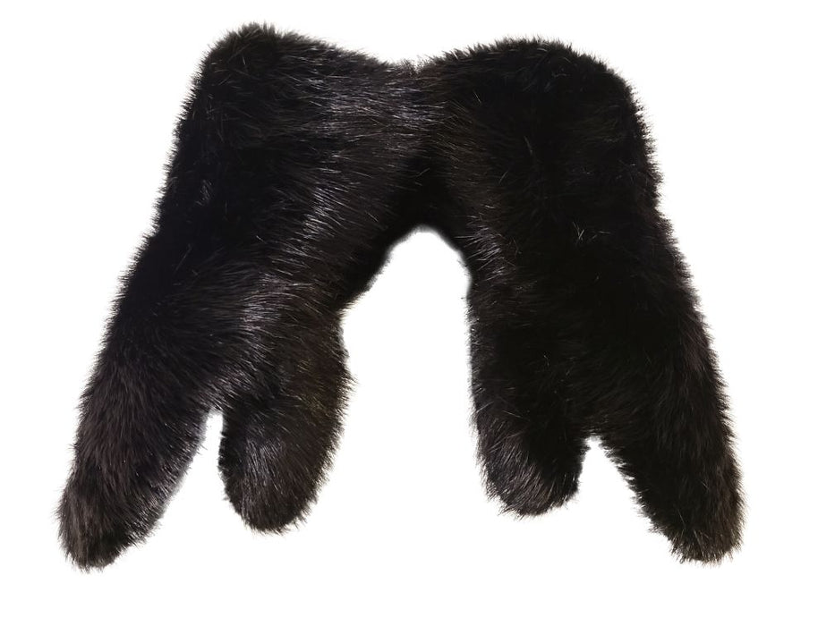 top view of the Black Beaver Fur Mitts, the mitts shown are completely covered in fur.