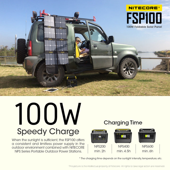 A child sitting in an suv using a tablet being charged by a Nitecore FSP100 foldout solarpanel grid hung on the side of the suv. The description '100W Speedy Charge' is shown below the image. In the background is a fenced off cliff side viewing a river..
