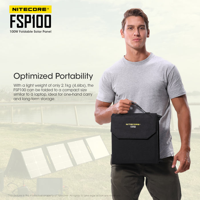 A man in a grey shirt holding a FSP100 foldable solar panel in it's black compact carrying case. A faded image of the Fold out solar panel is structured like a pyramid.