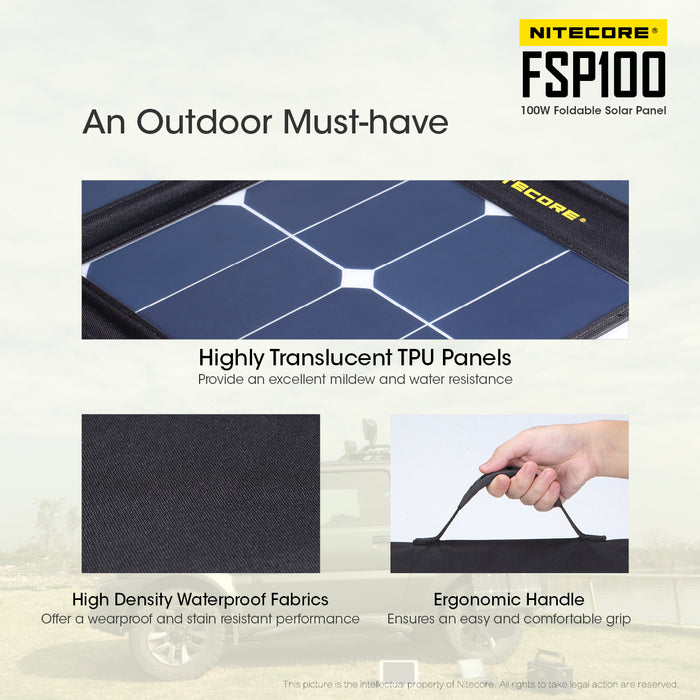 NItecore FSP100 WATT Foldable Solar Panel with Max Output of 100W