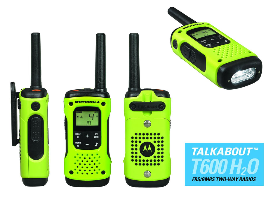 Motorola Talkabout T600 H20 Two-way Radio in a lime green body and black buttons. There is a led flashlight built in to the walkie talkie's bottom.