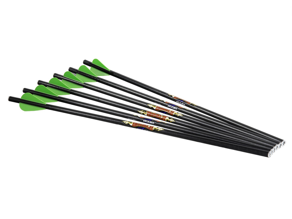 "Excalibur Diablo Carbon 18"" Arrows with green feathers and black shafts."