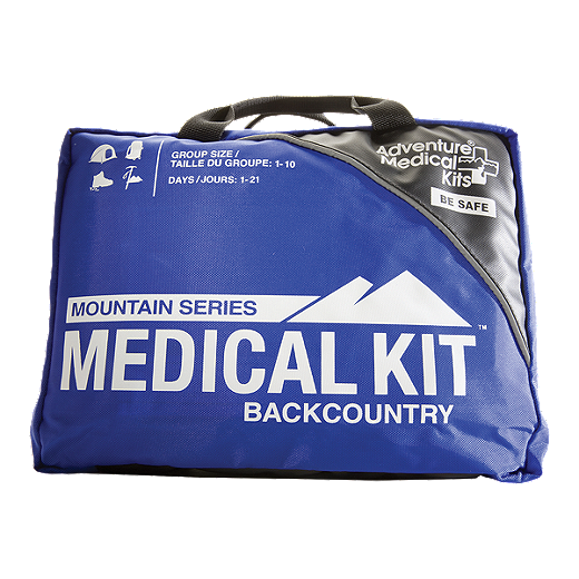 Front of the Mountain Series Medical Kit Backcountry bag with labels 'group size: 1-10' and 'Days: 1-21' in blue and black.