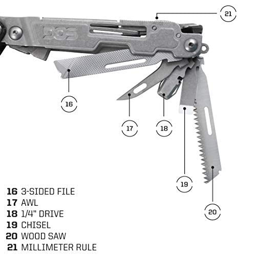 "3-sided file, AWl, 1/4"" Drive, Chisel, Wood Saw and Millimeter rule of the SOG Delux Multi tool in stainless steel."
