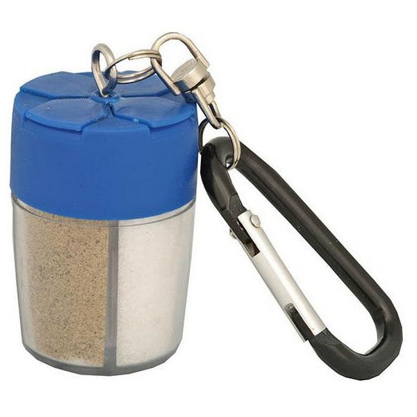 Mini Spice bottle with blue lide and attached carbiner key chain. Inside the bottle is a compartment of salt and a seperate compartment of pepper.