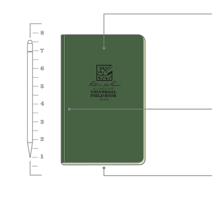 Rite in the Rain Waterproof Notepad/ Soft Cover Book (CHOOSE COLOR)