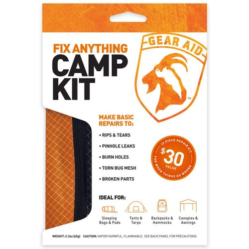 Fix Anything Camp Kit from Gear Aid product package. with description 'Ideal for sleeping bags & pads, Tents & tarps, Backpacks & Hammocks, and Canopies & Awnings'.'