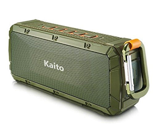 Kaito V3 Ruggedized Waterproof Outdoor Speaker in Green with orange accents, the speaker is attached with a carabiner for cliping to bags and other areas.