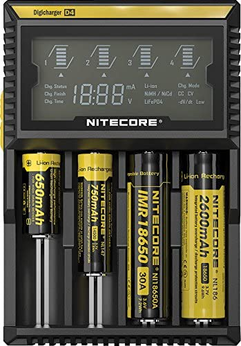 A 650mAh, 750mAh, IMR18650 30A, and 2600mAh Nitecore rechargeable battries being charged by the D4 Multbattery Digicharger. The batteries and charging base are black with yellow stripes.