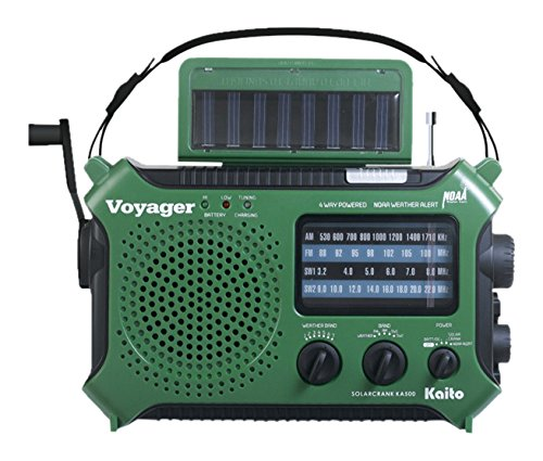 Kaito KA500 Handheld Radio + Reading Lamp with 5-way Powered Emergency AM/FM/SW NOAA Weather Alert Solar and Hand Crank