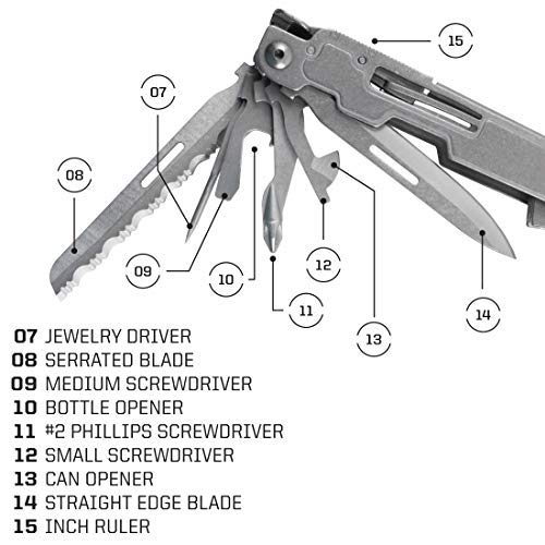 The jewelry driver, serrated blade, medium screwdriver, bottle opener, #2 Phillips screwdriver, small screwdriver, can opener, straight edge blade and inch ruler of the SOG Power Access Deluxe Multi-tool.