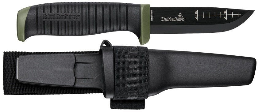Hulfators Outdoor Knife OK4 with black plastic sheath and a belt loop. The knife is black with green details on the end and finger guard. A measurement chart is presented on the blade.
