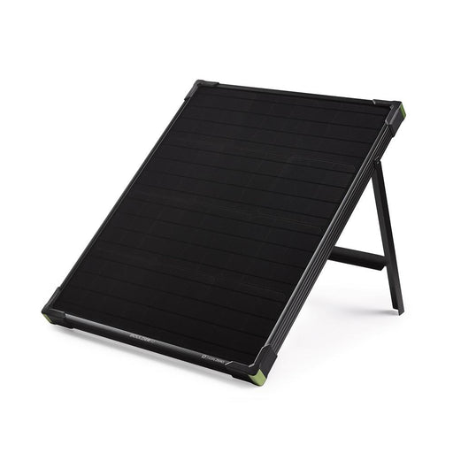 Goal Zero Boulder 50 Solar Panel with the kickstand out on a white background.