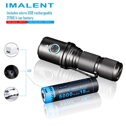 Imalent Dm70 Flaslight with the 5000mAh 18wh Imalent usb rechargeable li-ion battery.