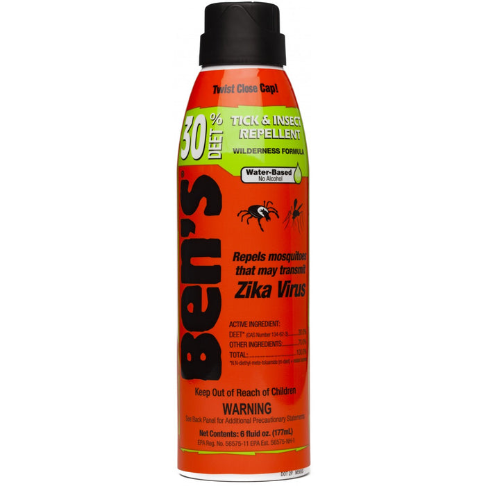 Front view of the Ben's® 30 Tick & Insect Repellent 6oz Eco-Spray canister. Descriptions of 'Tick and Insect Repellent' 'Wilderness Formula' and 'Water-Based, no Alcohol.' 177ml Orange canister with black cap.