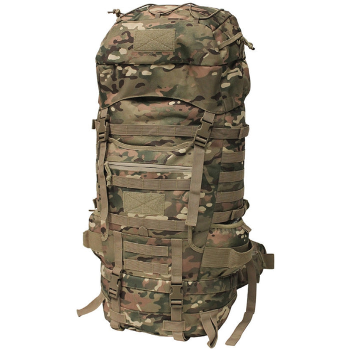 Mil-Spex Highlander Frame Backpack with the large amount of storage compartments and attachment mod areas on the back of the bag, the adjustable mesh on the top storage compartment and the side straps for mounting weapons, tripods, or even a waterbottle. The bag is in a classic army camouflage.