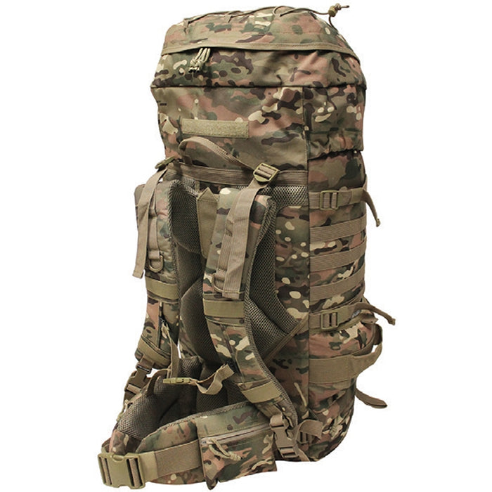 Mil-Spex Highlander 75 Litre backpack in Army green camou on a white background. The padded shoulder straps are shown with the padded waist strap for great comfort.