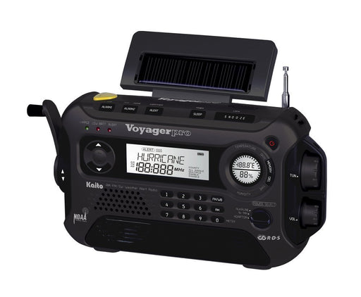 Kaito Voyager Pro KA600 5-Way Powered Emergency Radio in Black with the Hand crank, solar panel charging ability, led screen and varied dials.