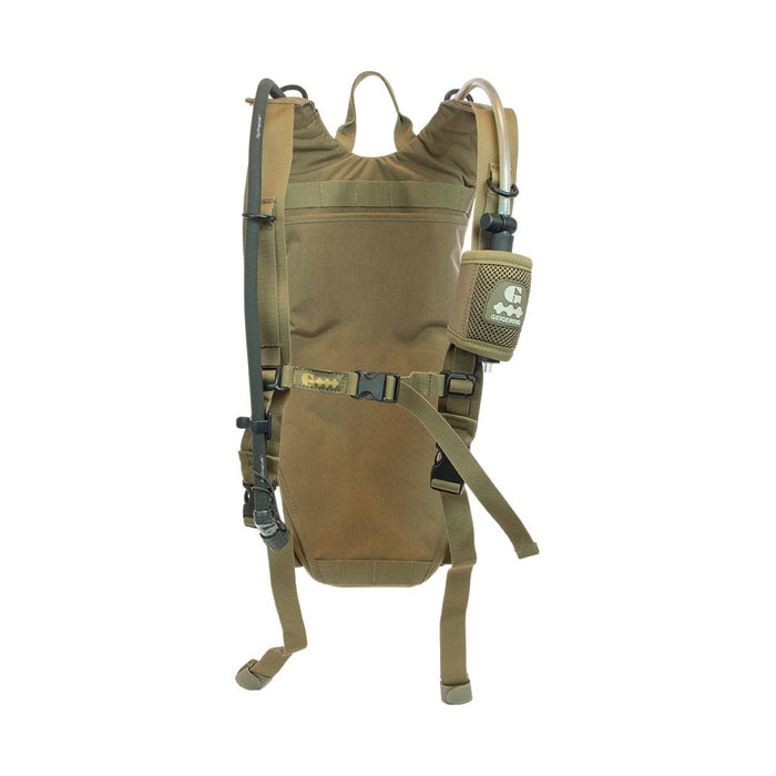 Geigerrig Guardian Tactical Pressurized Hydration Pack in olive green colour with a bite valve cover attached to the shoulder strap.