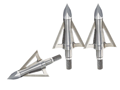 Three Stainless Steel Boltcutter B.A.T Broad heads on a white background.