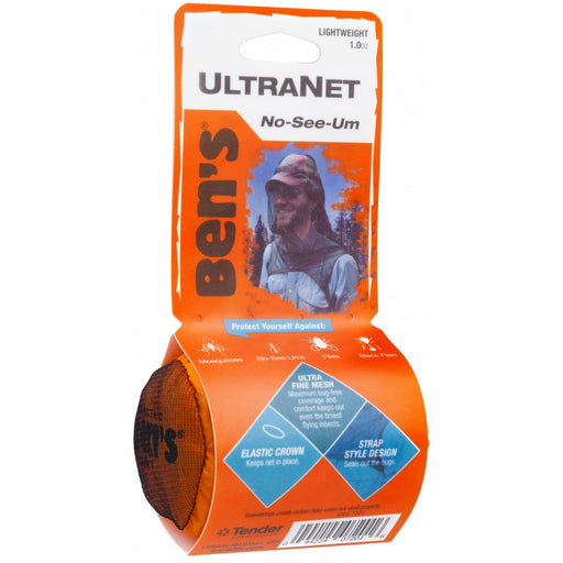 "Ultranet No-See-Um Ben's Head net front view with product information: 'Elastic crown' 'Strap style Design' 'Ultra Fine Mesh' and ""protect yourself against Mosquitoes, No-See-Ums, Flies, and Black Flies.'"